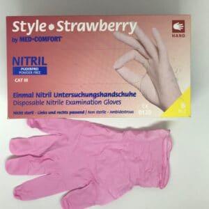 Rokavice nitril M roza 100kos